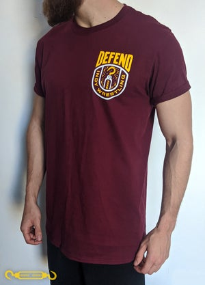 DEFEND Maroon 'Yellow Crest' Shirt