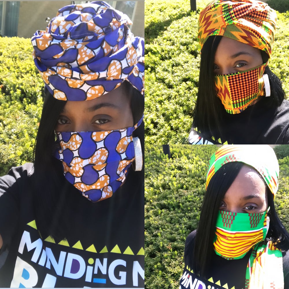Image of African Print Head Wrap & Mask Set