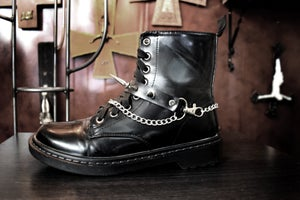 Faux leather strap boot ⇹ Vegan leather spiked strap boots FREE SHIPPING