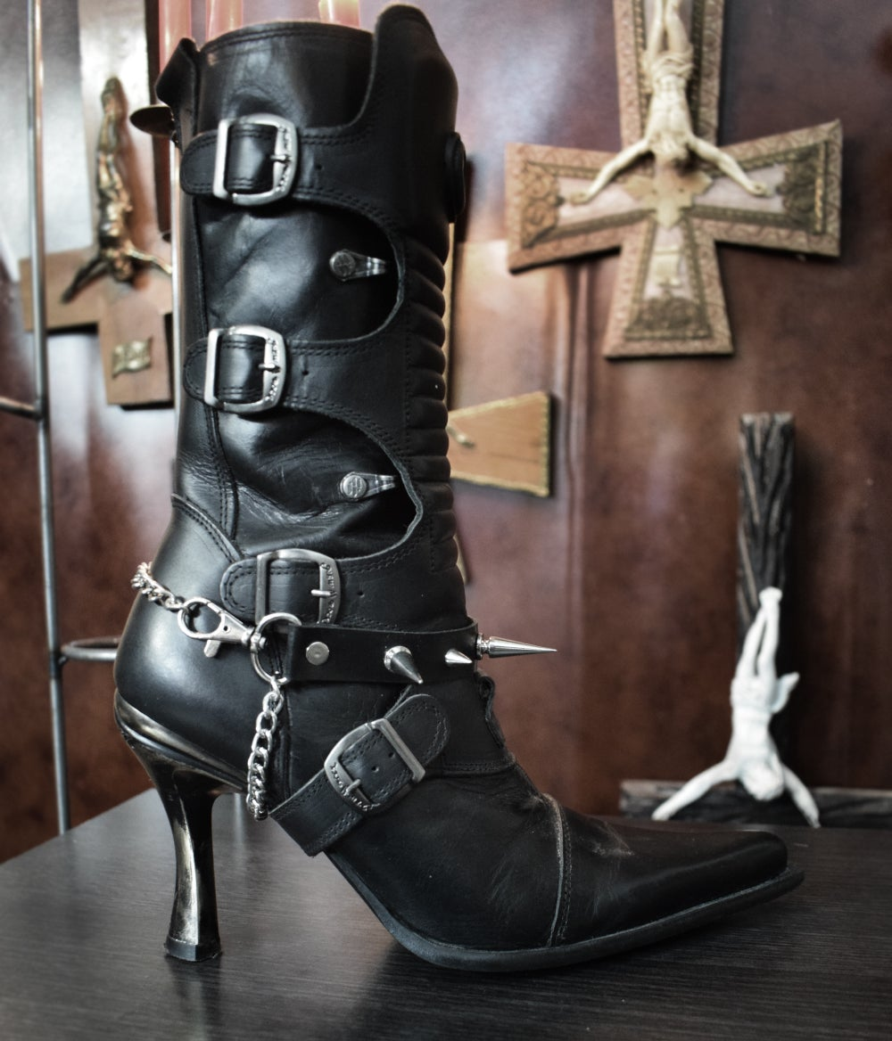 Image of Faux leather strap boot ⇹ Vegan leather spiked strap boots FREE SHIPPING