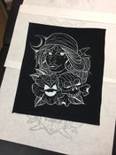 Image of Gypsy girl with rose and skull jacket back patch