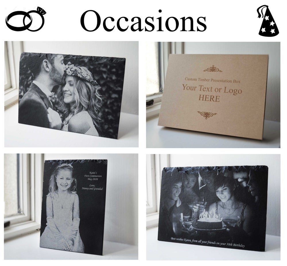 Special Occasions. Laser-Engraved custom slate.