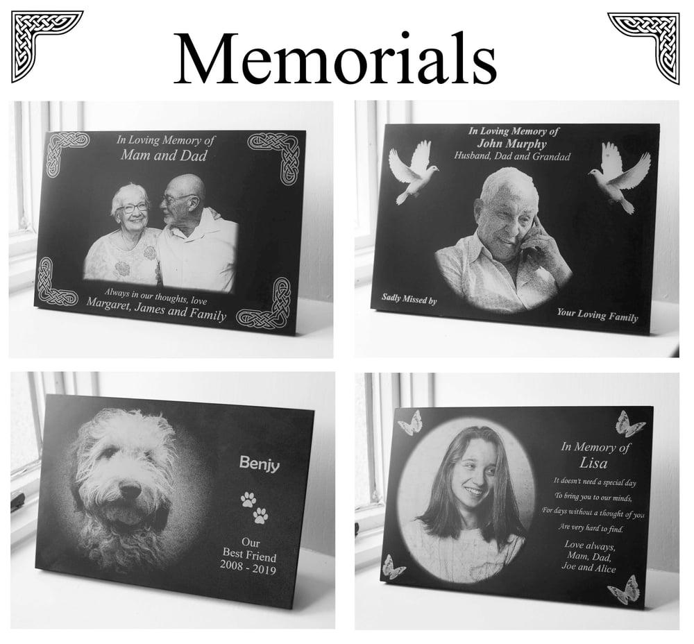 Memorial Plaque. Laser-Engraved custom 20mm thick slate.