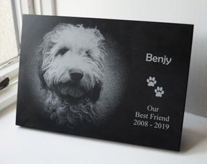 Memorial Plaque. Laser-Engraved custom 20mm thick slate.