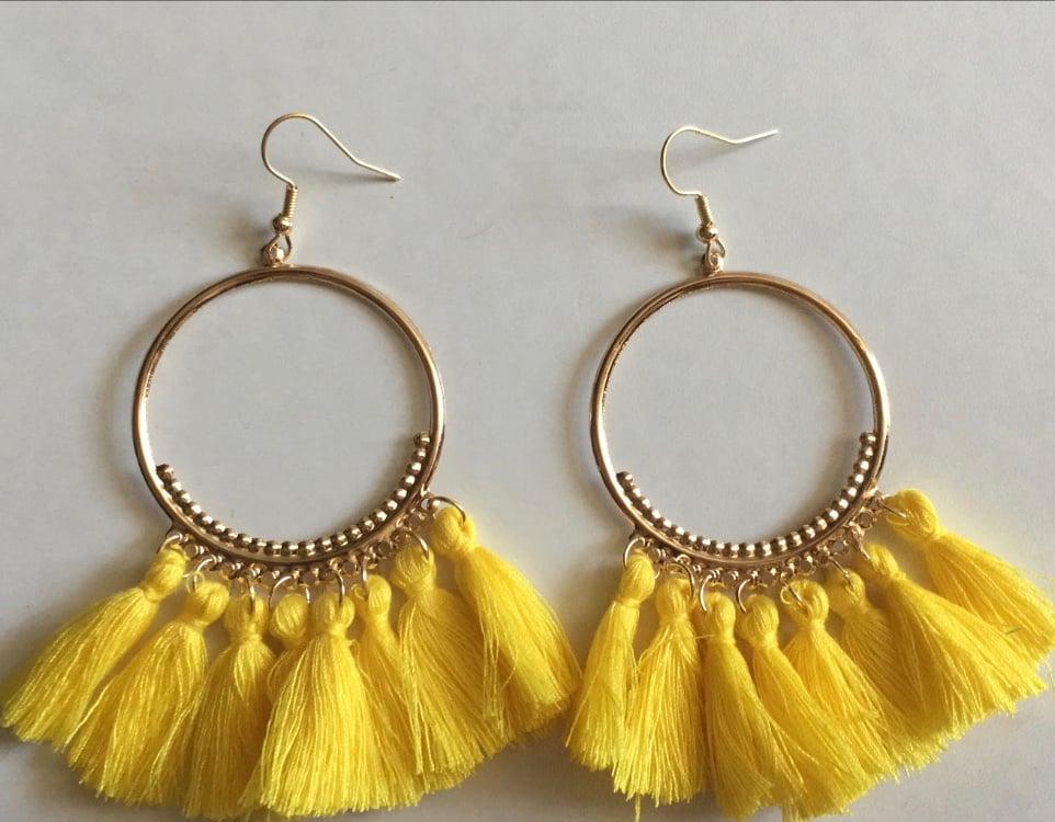 Image of Colorful Tassel Earrings
