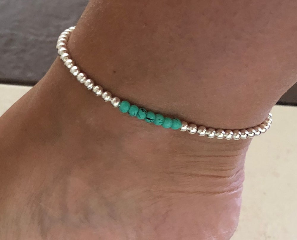 Image of Turquoise cluster anklet
