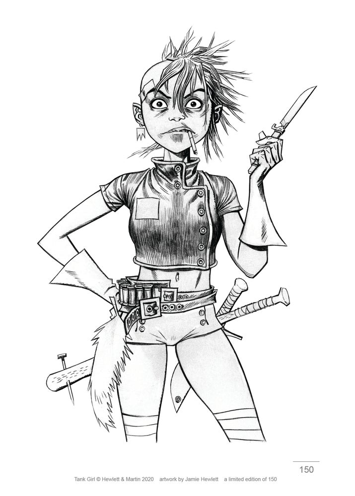 Image of TANK GIRL PENCIL ART 4 PRINT SET - SIGNED & NUMBERED (with bonus postcard!)