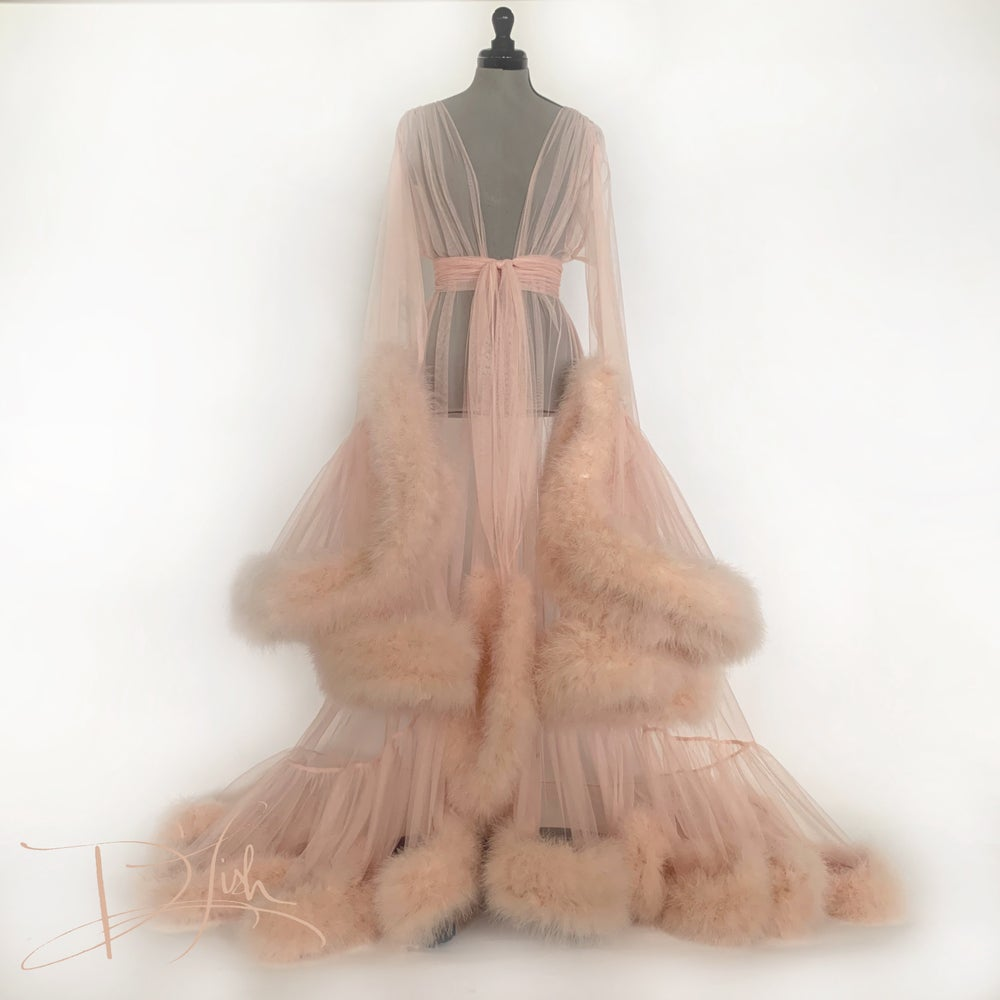"Image of Deluxe Dusty Peach ""Cassandra"" Dressing Gown"