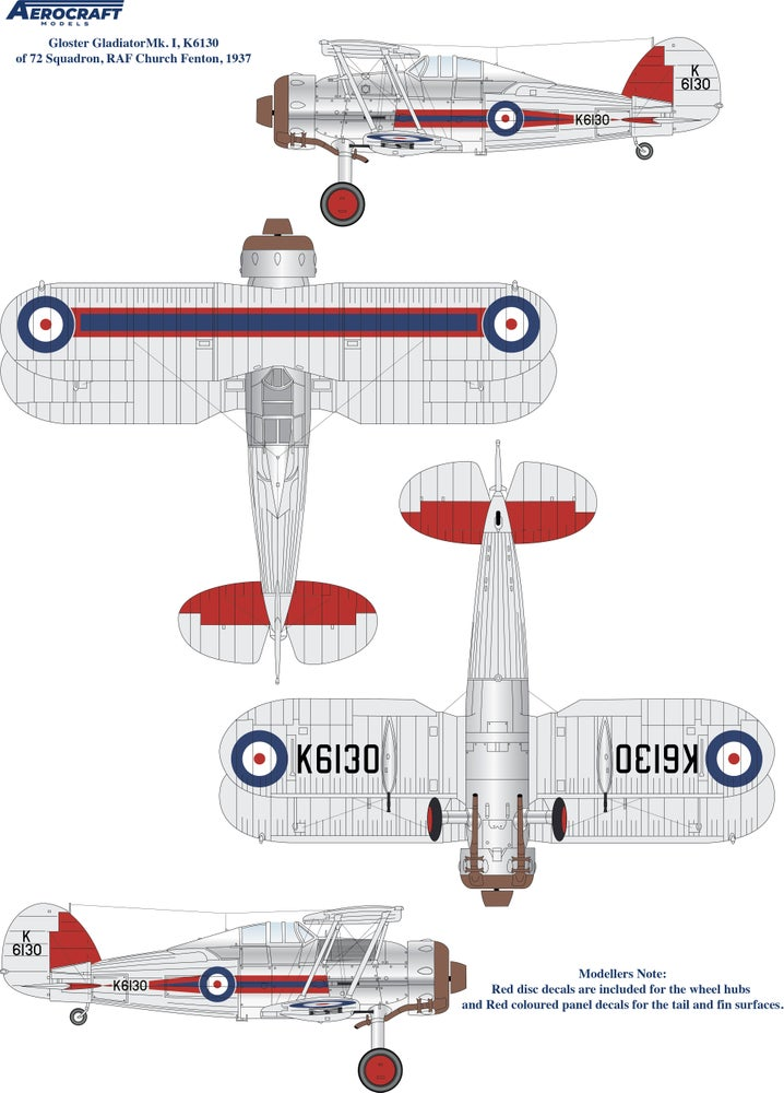 Image of Gloster Gladiator decals for 72 Sqn. RAF