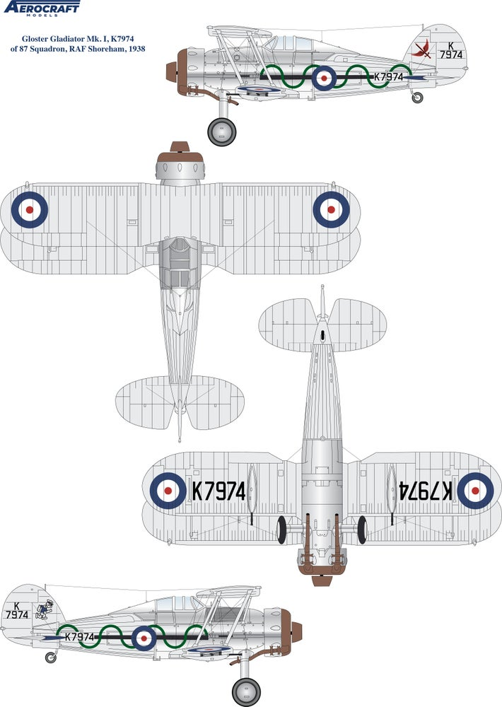 Image of Gloster Gladiator decals for 87 Sqn RAF