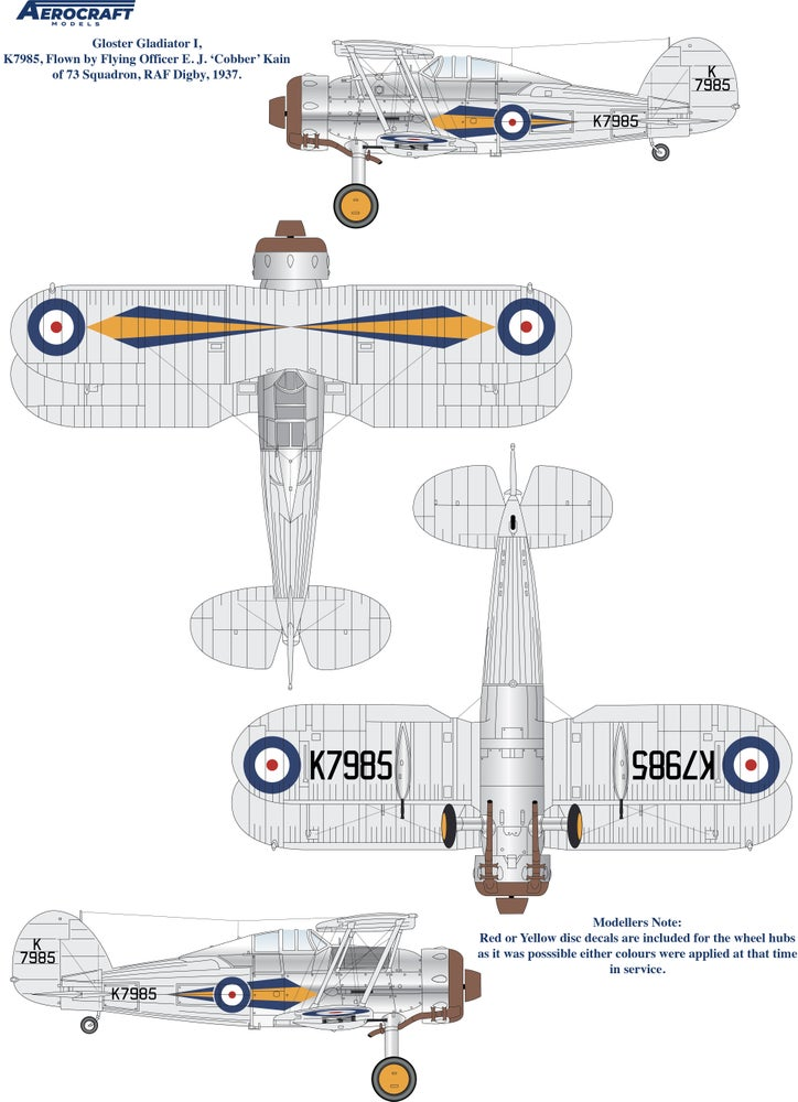 Image of Gloster Gladiator decals for 72, 73 and 87 Sqn. RAF