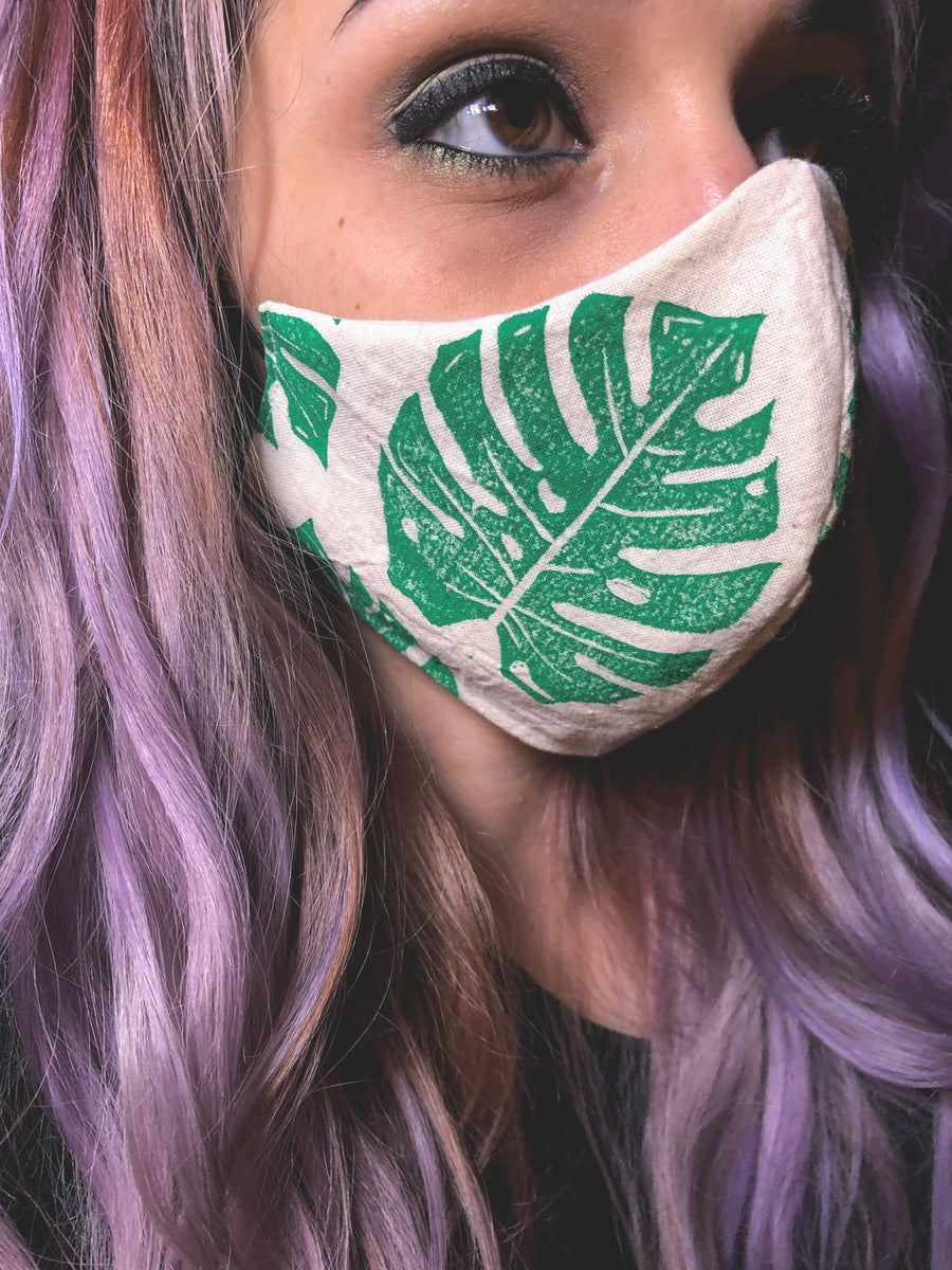 Image of Green Monstera Face Mask