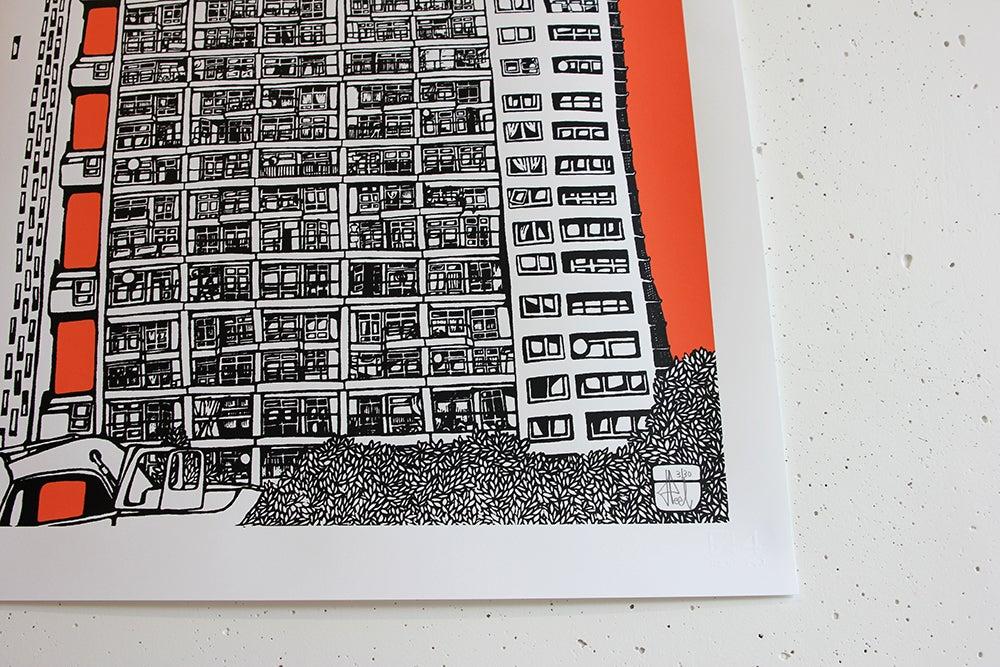 Image of Trellick Tower - Coral Pink