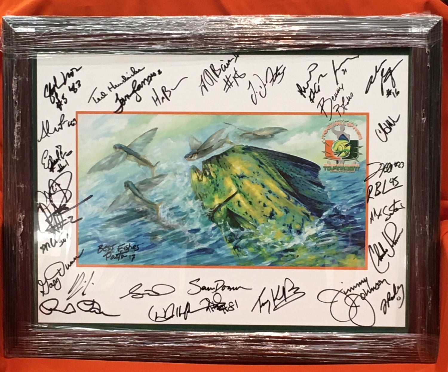 Image of 2017 U Fish Poster signed by 27 Canes Greats