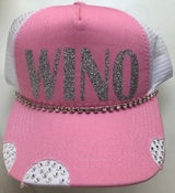 Image of Silver Glitter WINO Pink/White Crystal Brim Trucker Hat