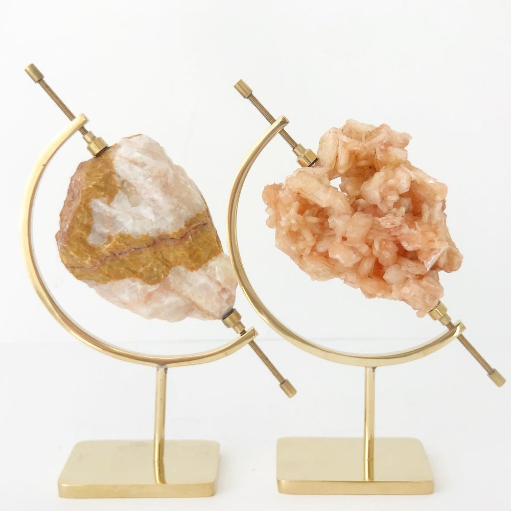 Image of Stilbite no.01 + Brass Arc Stand