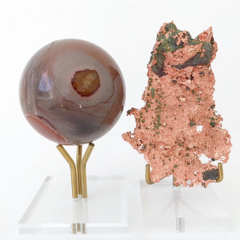 Image of Polychrome Jasper no.02 + Three Prong Lucite and Brass Stand