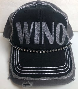 Image of Black/Gray Distressed Baseball Hat Gray Glitter WINO