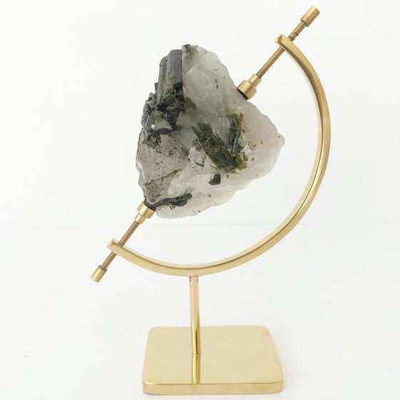 Image of Green Tourmaline no.03 + Brass Arc Stand