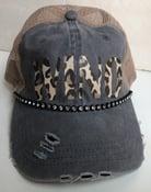 Image of Gray/Tan Trucker Hat Leopard WINO