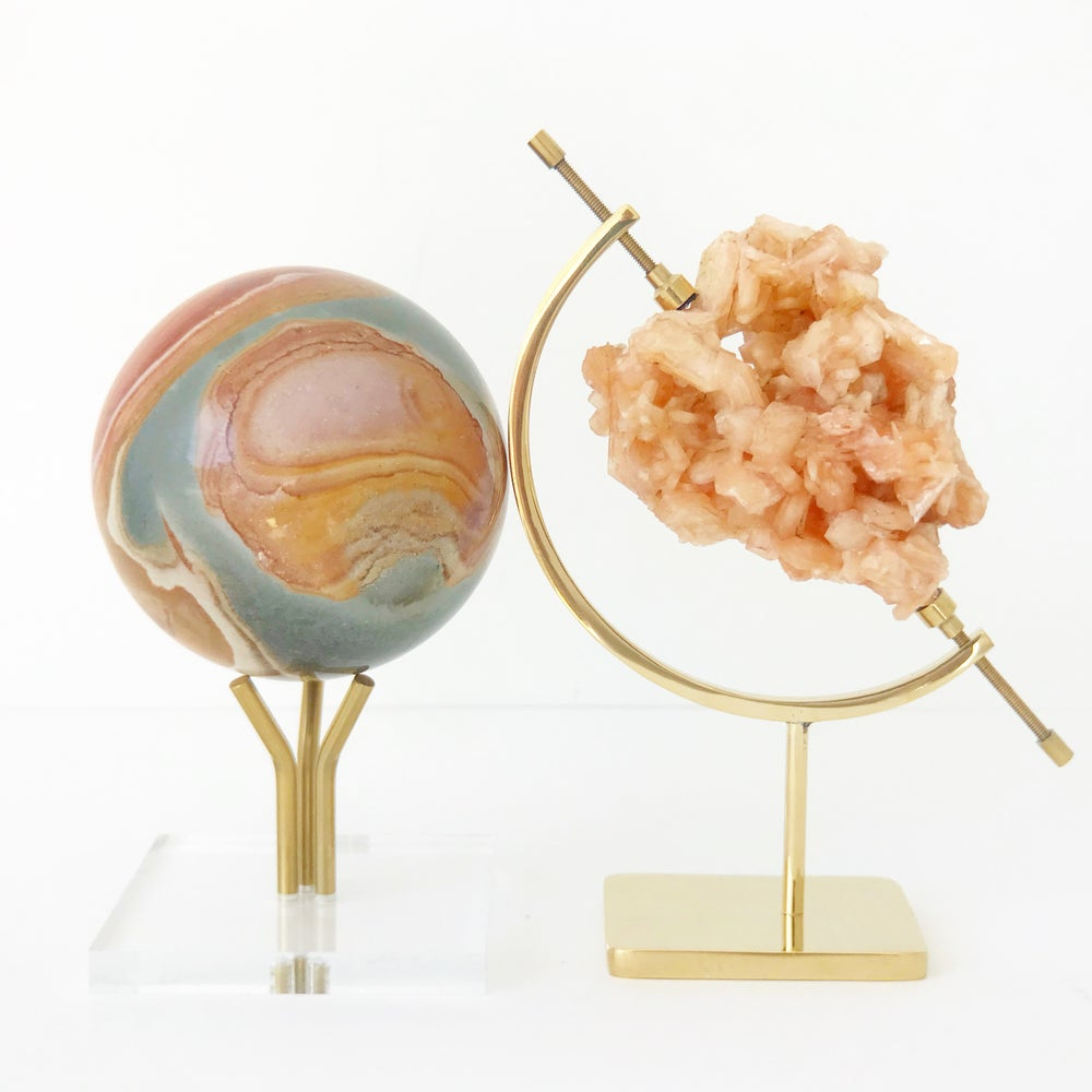 Image of Polychrome Jasper no.05 + Three Prong Lucite and Brass Stand