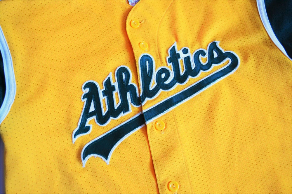 Image of 2000's Oakland Athletics Majestic Color Block Jersey Sz.XL (Youth)