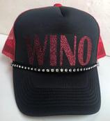 Image of Black/Red Trucker Red Glitter WINO