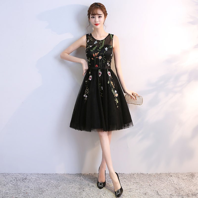 Cute Black Short Tulle Floral Homecoming Dress, Short Party Dress