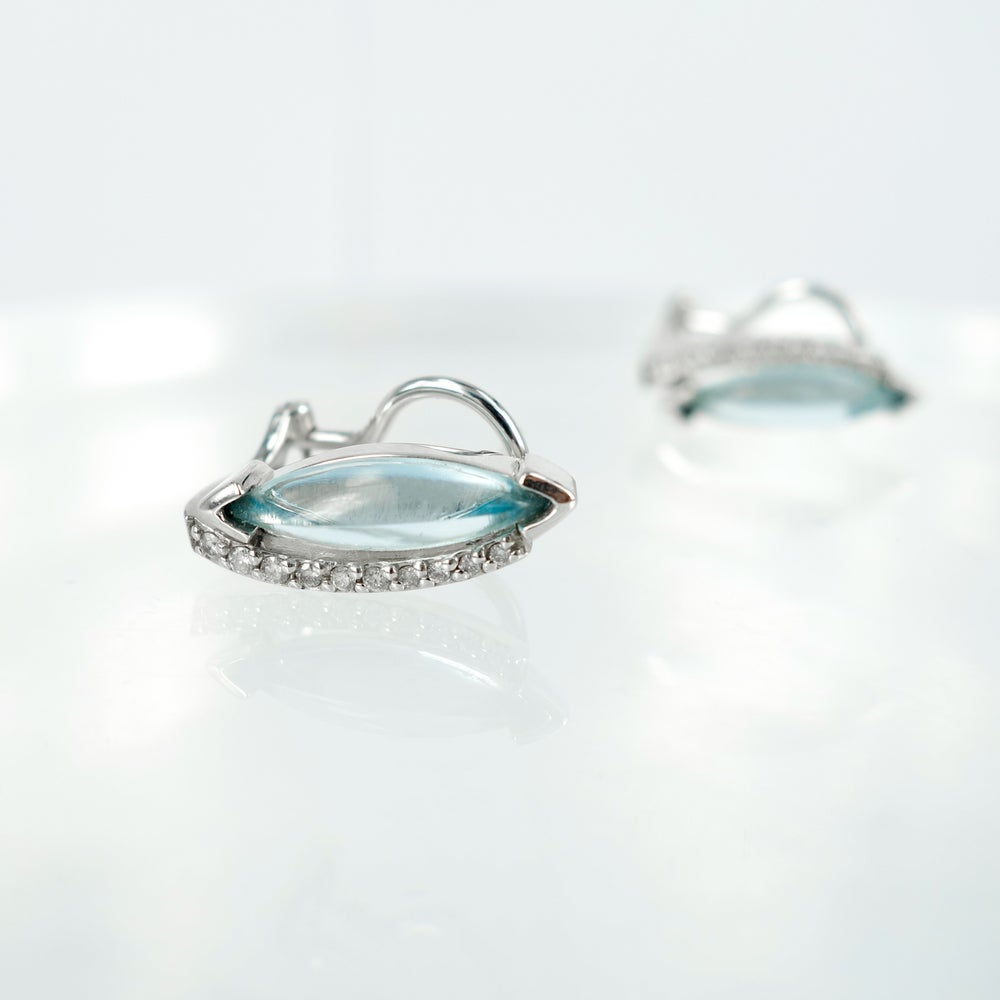 Image of E1381 - White gold diamond and aquamarine stud earrings