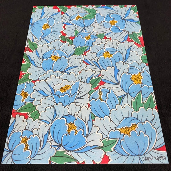 Image of A3 Blue Peony print by Danny