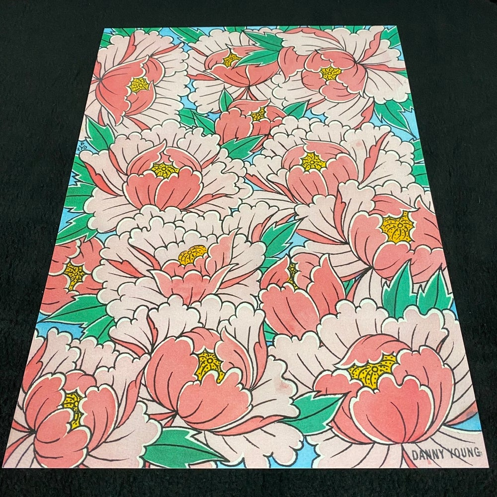 Image of A3 Pink Peony print by Danny