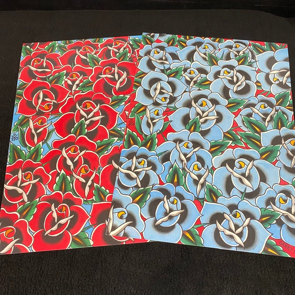 Image of A3 Red and Blue Roses prints pair by Danny