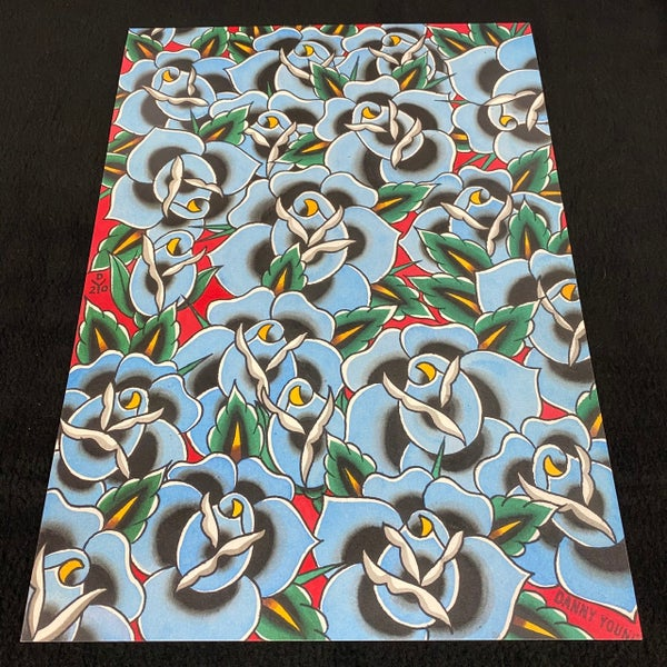 Image of A3 Blue Roses print by Danny