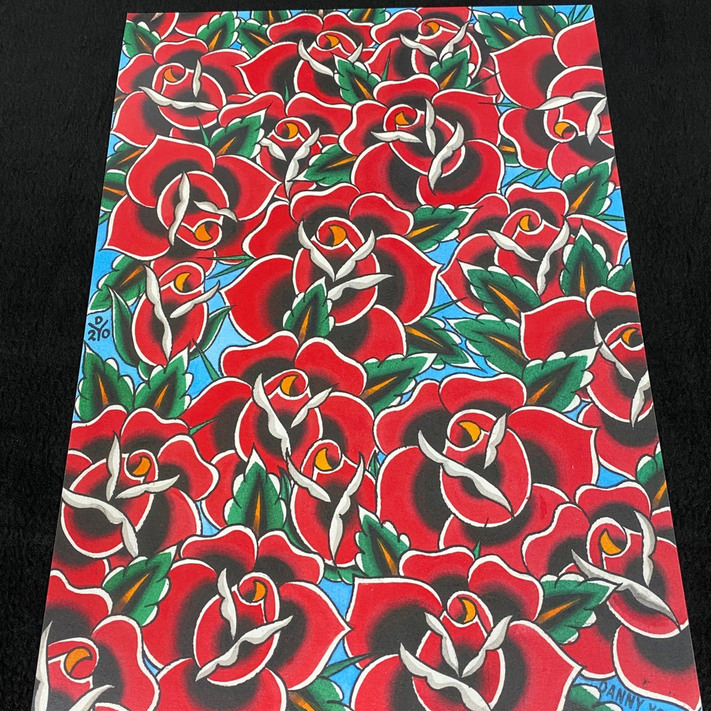 Image of A3 Red Roses print by Danny