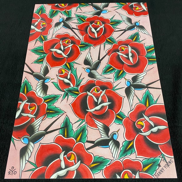 Image of A3 Roses and Birds print by Danny