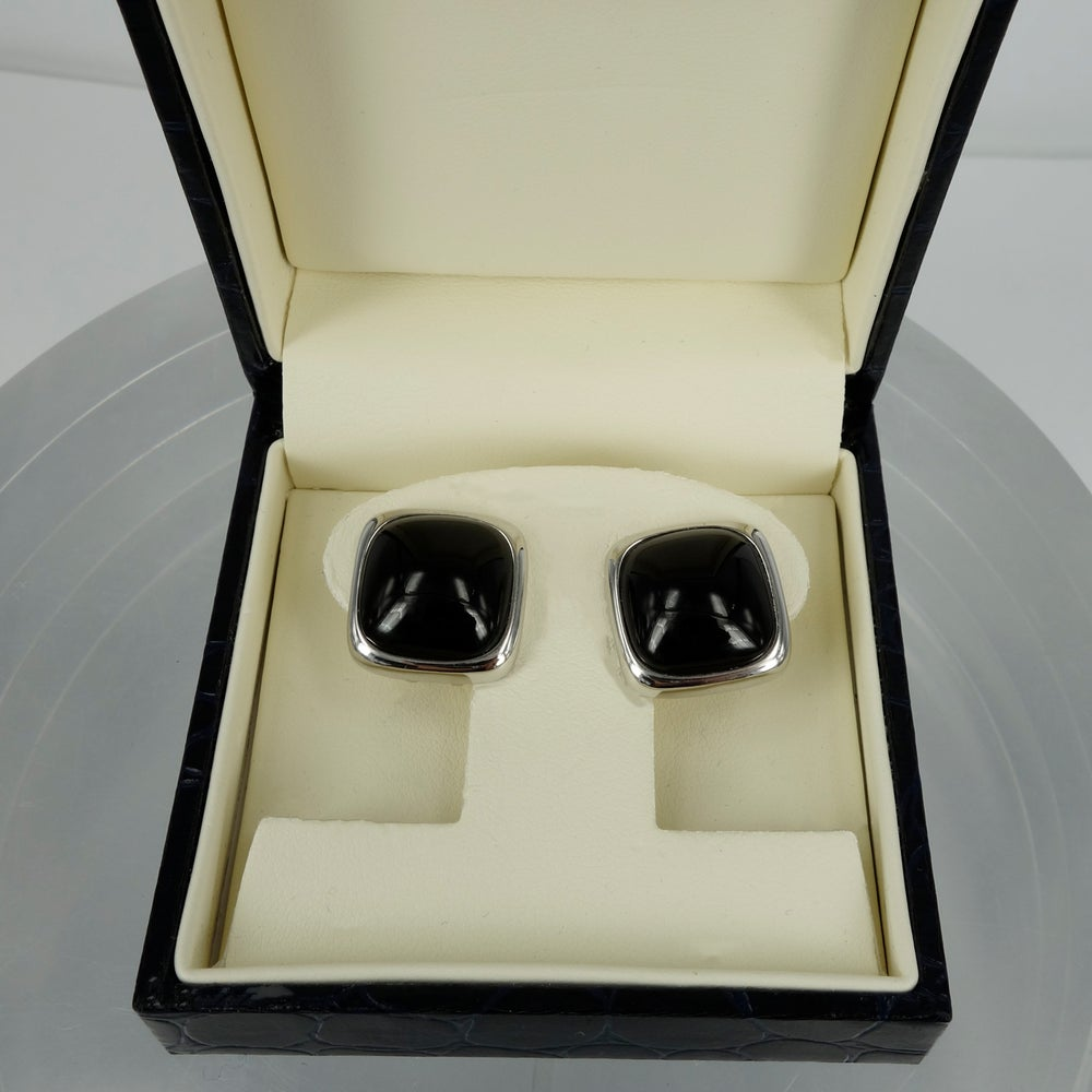 Image of M2133 - 14ct white gold and onyx stud earrings