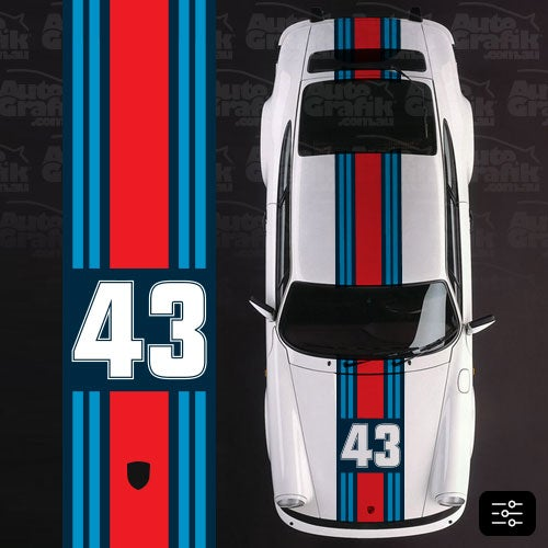 Image of MARTINI RACING WIDE OVER STRIPE WITH CUSTOM NUMBER DECAL KIT