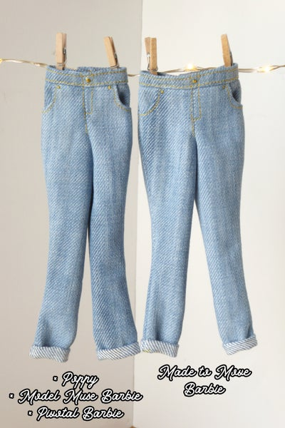 Image of Rolled-up jean for Poppy Parker and Made to Move Barbie (see description)