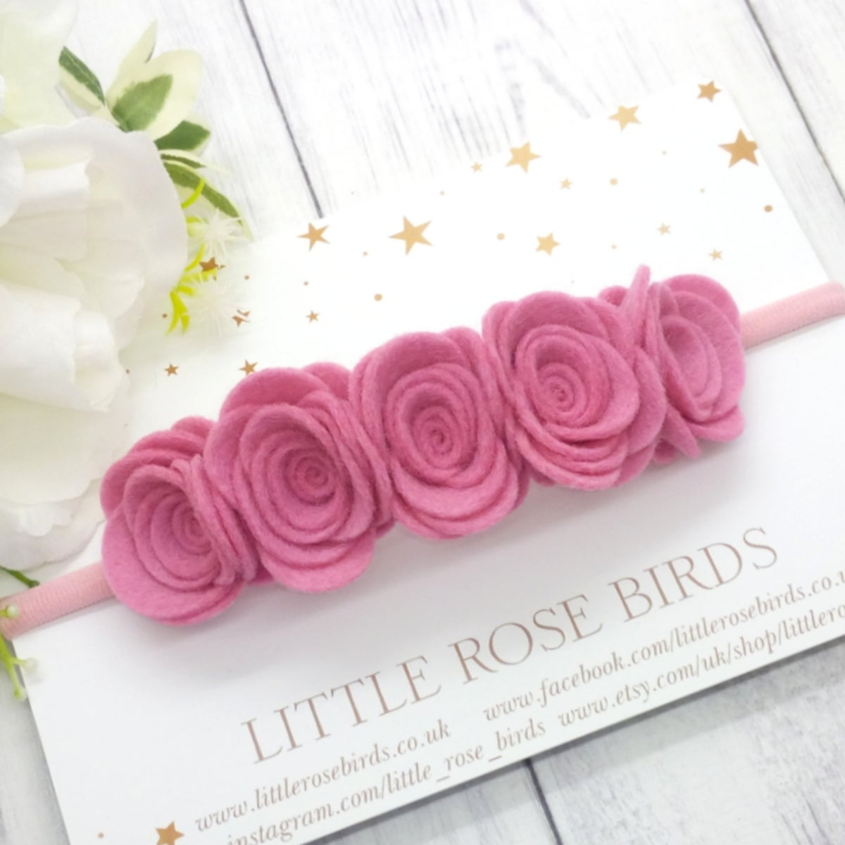 Image of CHOOSE YOUR COLOUR - 5 Medium Rose Flower Crown - Choice of 52 Colours