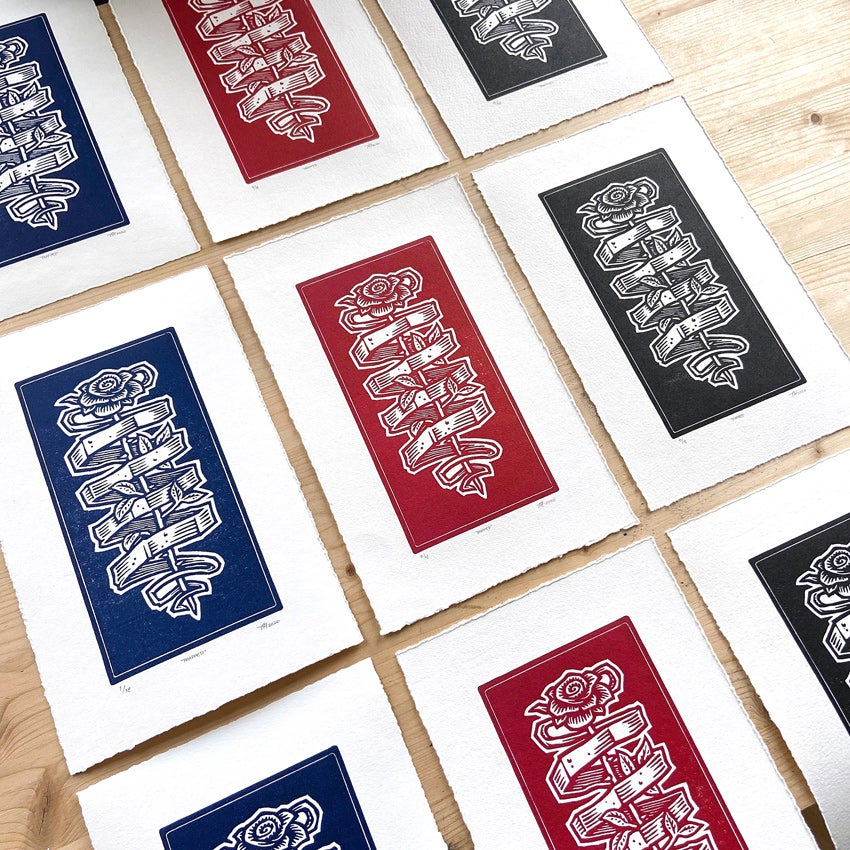Image of 'Trapped' handmade print