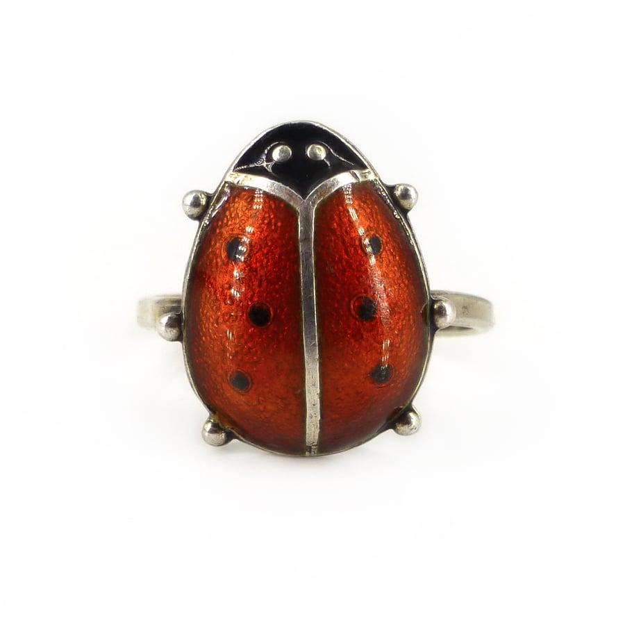Image of Vintage David Andersen Sterling Silver Ladybird Guilloché Enamel Ring