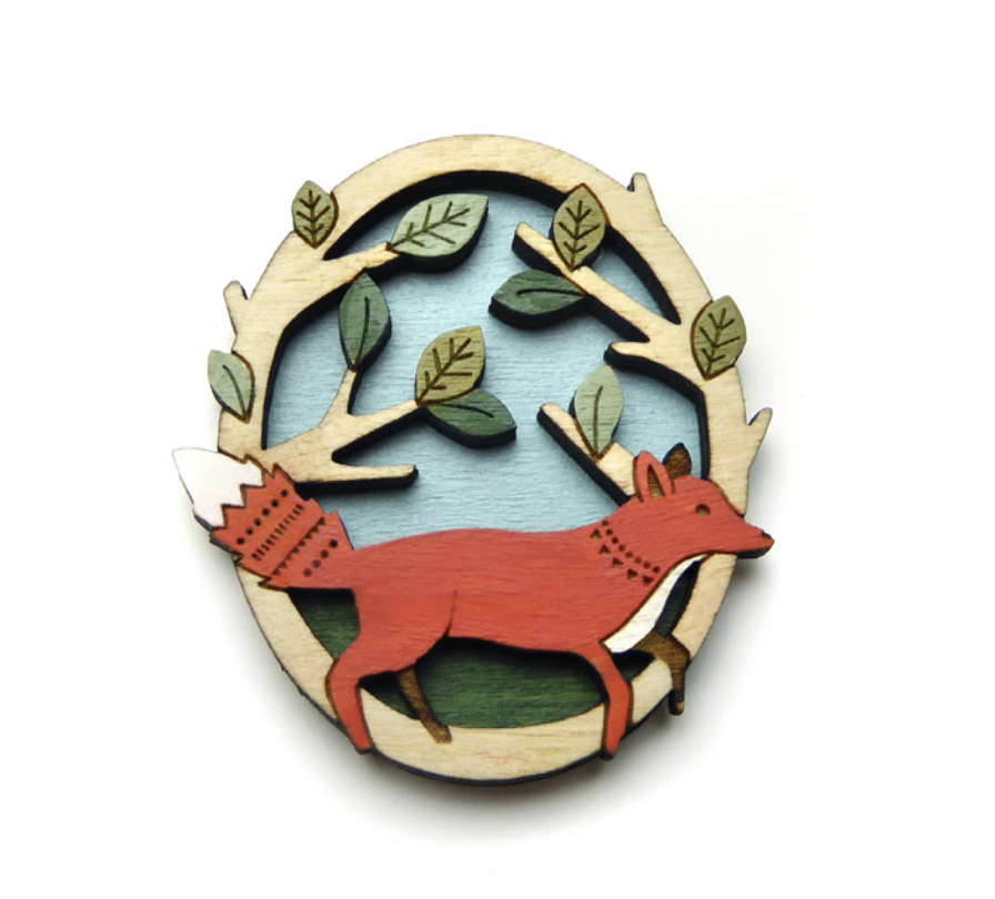 Image of Running Fox Brooch By Layla Amber
