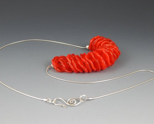 Image of Artisan Glass  • Ruffled Disk Necklace