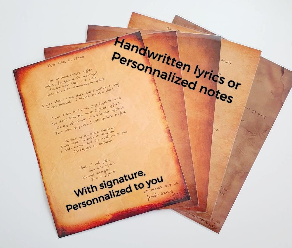 Image of Handwritten lyrics by Jen / Personnalized notes