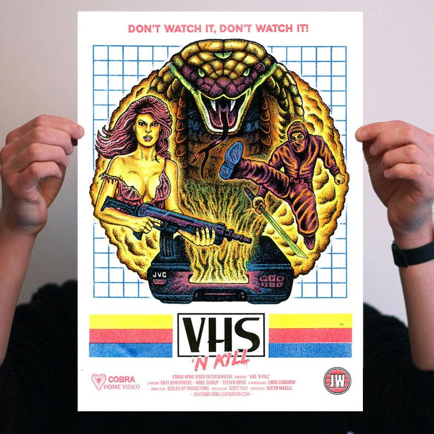 Image of VHS 'N KILL - A3 risograph print