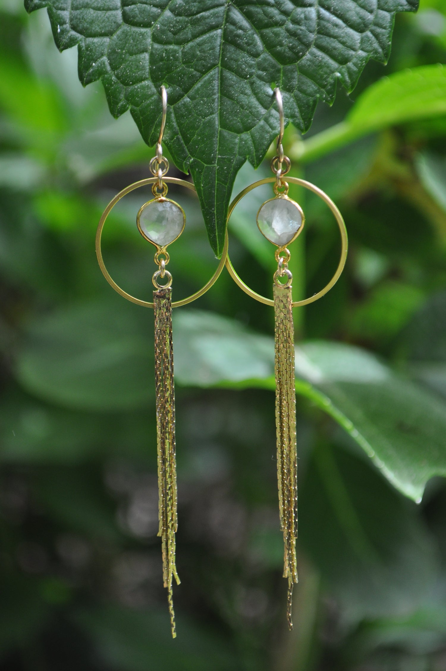 Image of Prehnite Tassel Hoops