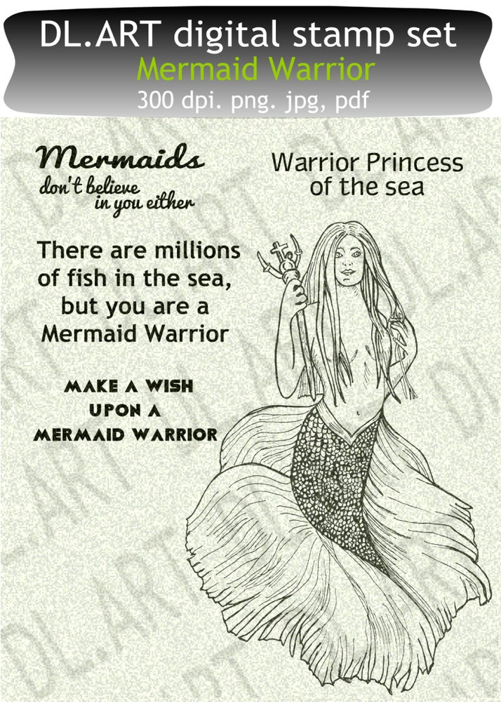 Image of Mermaid Warrior digital stamp set