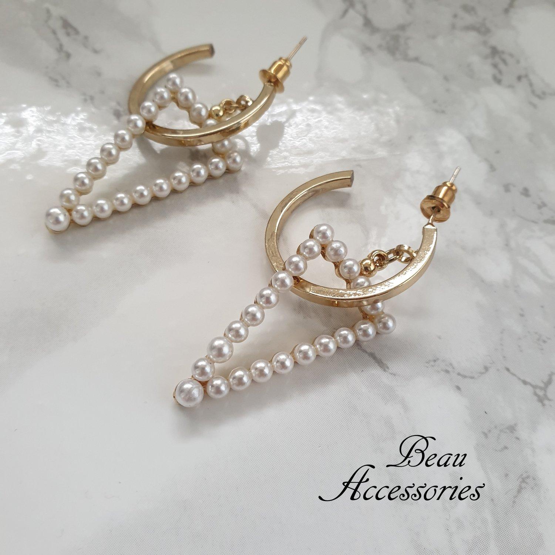 Image of Hoop Pearl Earrings