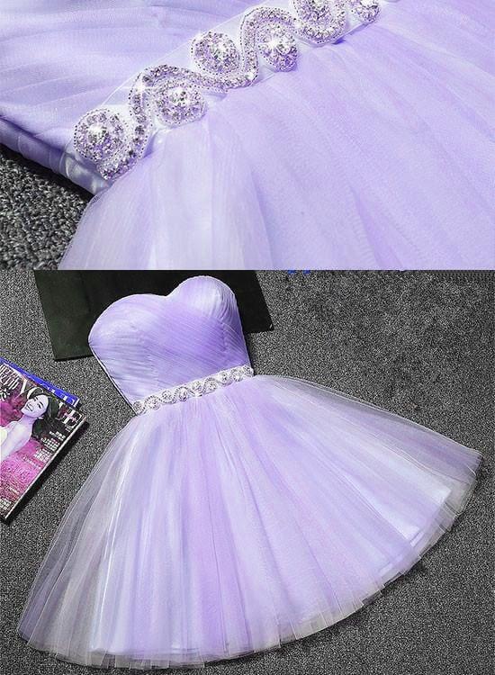 Tulle Sweetheart Light Purple Short Prom Dress, Homecoming Dress