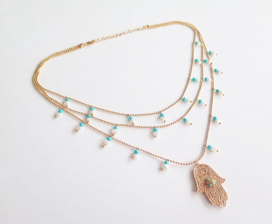 Image of Hamsa Triple Pearls Necklace